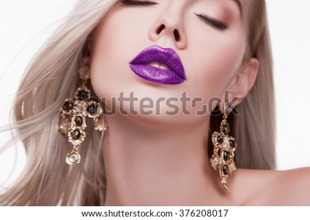 Sexy sensual red lip, mouth open, white teeth. Beautiful blonde portrait, close-up big lips, bright lipstick - stock photo
