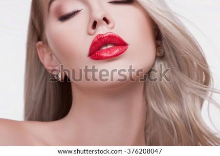 Sexy sensual red lip, mouth open, white teeth. Beautiful blonde portrait, close-up big lips, bright lipstick - stock photo