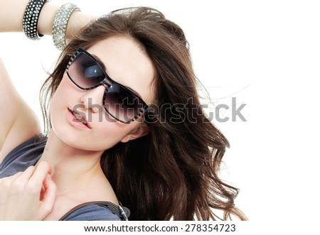 sexy slim girl wearing sunglasses - stock photo
