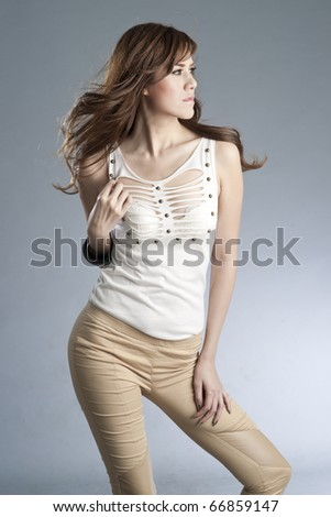 Sexy slim woman in fashion dress. - stock photo