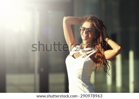 Sexy Smiling Beautiful Young Happy Woman In Sunglasses. City Fashion Style. - stock photo