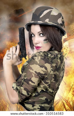 sexy soldier woman  looking victorious  - stock photo