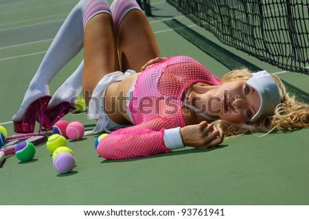 Sexy tennnis girl - stock photo