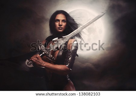 Sexy Warrior Woman with Moon - stock photo