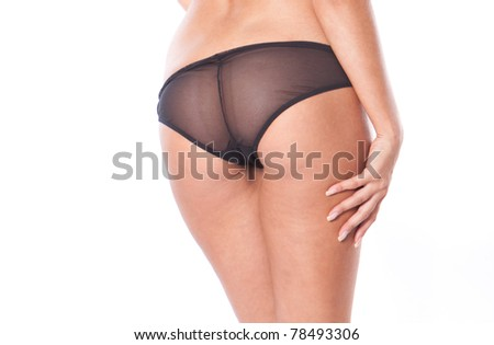 Sexy woman ass in lingerie on the white background - stock photo