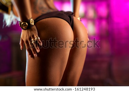 Sexy woman back with hands. - stock photo
