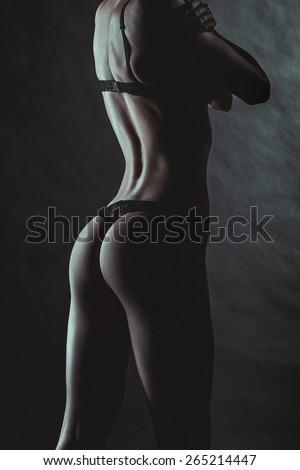Sexy Woman Body. Lacy Underwear Lingeries. Low Key Dark Fashion Photoshoot - stock photo