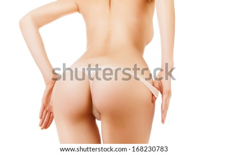 sexy woman buttocks in white panties on white background - stock photo