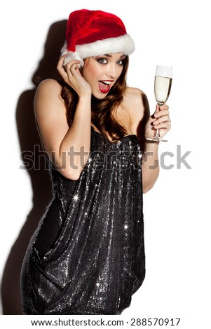 Sexy Woman Celebrating with Champagne - stock photo