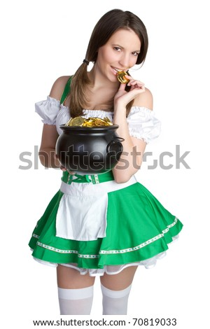Sexy woman holding pot of gold - stock photo