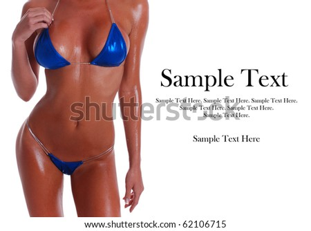 Sexy Woman in Bikini with Copy Space to the right. - stock photo