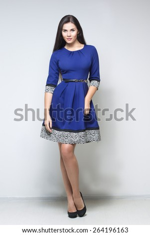 sexy woman in blue dress - stock photo