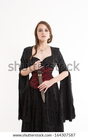 Sexy Woman in Gothic Dress - stock photo