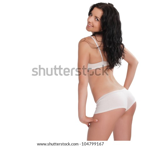 Sexy woman in lingerie over white background - stock photo