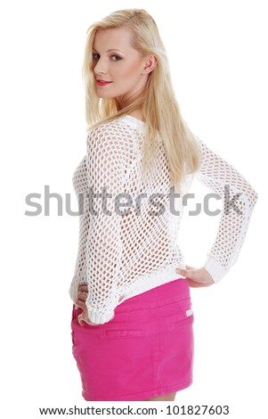 Sexy woman, isolated on white background - stock photo