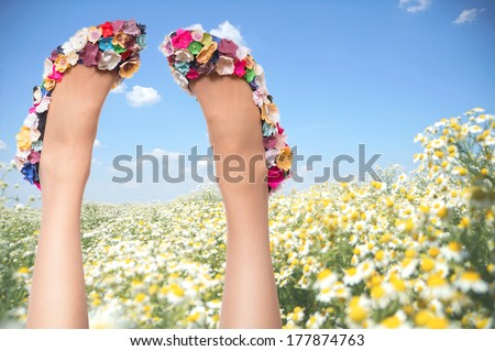 Sexy woman legs in funny shoes on blue sky and flower field background. Summer vacation concept - stock photo