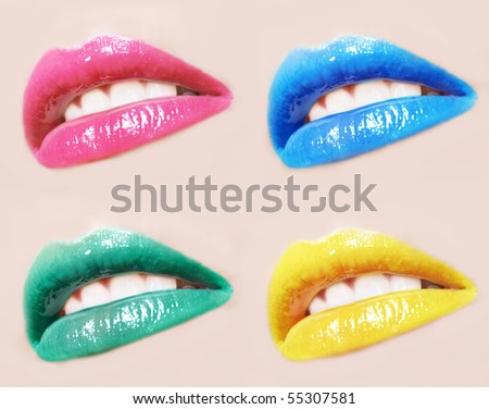 sexy woman lips different colour make up and gloss - stock photo