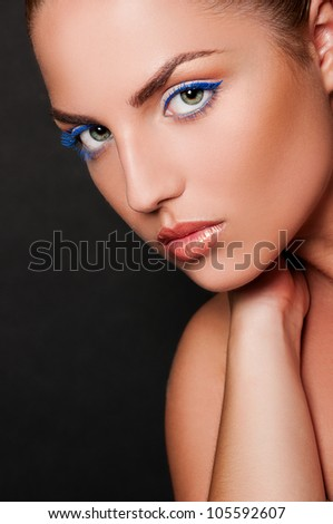 sexy woman on black background - stock photo