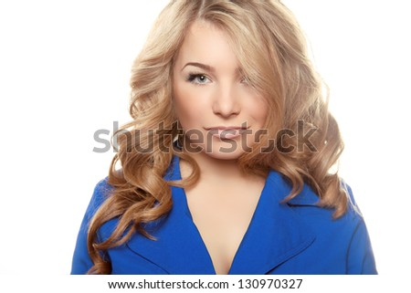 Sexy woman portrait with curly hair isolated on white background - stock photo
