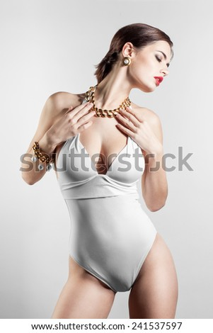 Sexy woman posing in swimsuit - stock photo