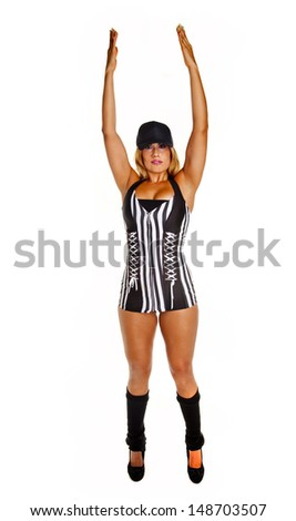 Sexy woman referee  isolated on white signals goal. - stock photo