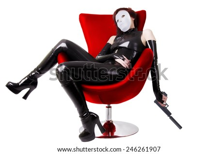 Sexy woman sitting on chair. - stock photo