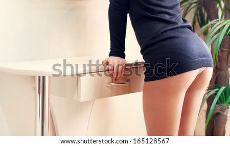Sexy woman soft booty, panties - stock photo