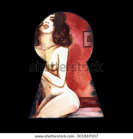 sexy woman. watercolor illustration - stock photo