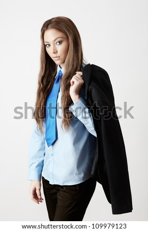 sexy woman wearing a shirt and tie - stock photo