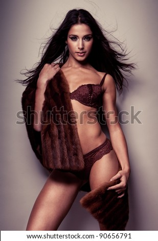 sexy woman wearing lingerie - stock photo