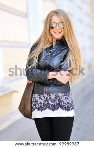 Sexy woman wearing sunglasses - stock photo