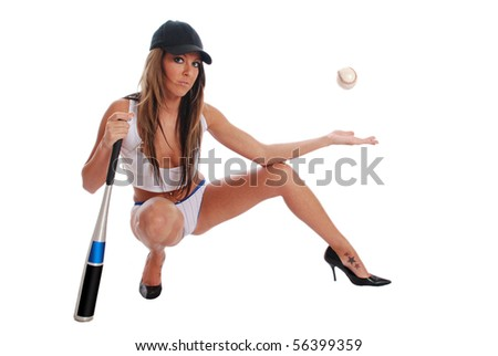 Sexy woman with a baseball and bat - stock photo