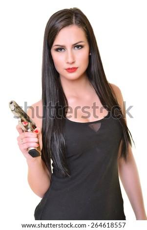 Sexy woman with gun - stock photo
