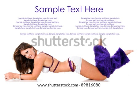 Sexy Woman with Purple Furry Leggings and Text Space Above - stock photo