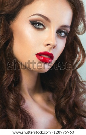Sexy woman with red lips - stock photo