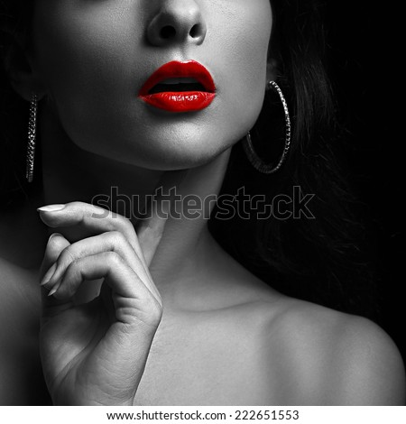 Sexy woman with red lips. Black and white portrait. Closeup - stock photo
