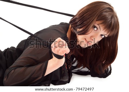 Sexy woman with whip on white background - stock photo