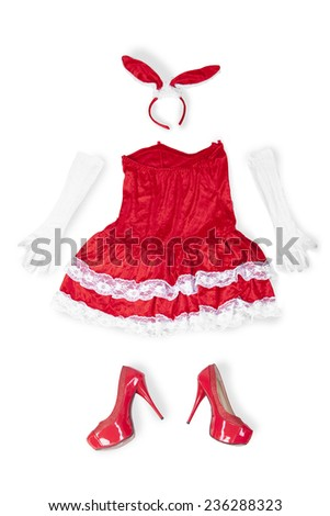 Sexy women dress with red color for christmas occasion, isolated on white background - stock photo