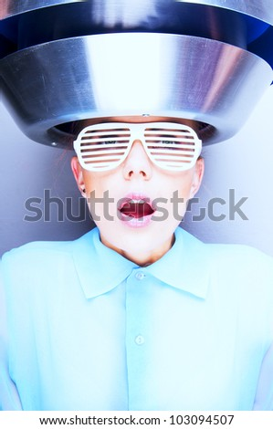 Sexy women in ancient hairdresser - stock photo