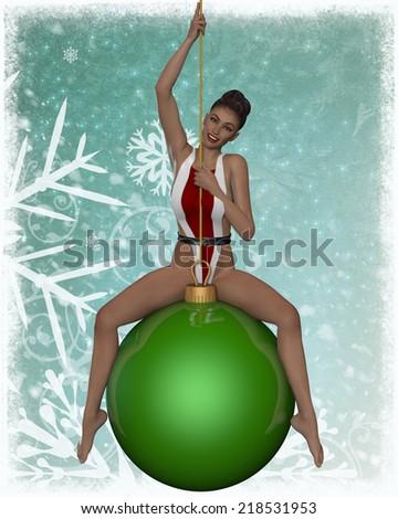 Sexy xmas girl - stock photo