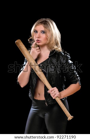 Sexy young blonde with a bat in their hands. Isolated - stock photo
