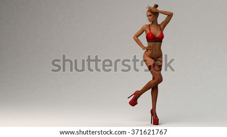 sexy young latina woman in red lingerie - stock photo