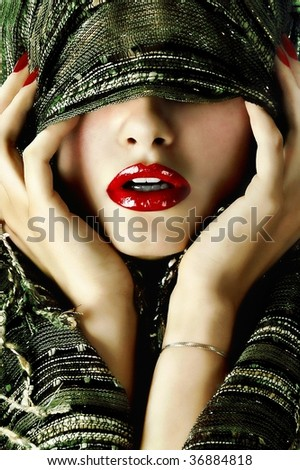 Sexy young pretty woman / model / girl / student / businesswoman / secretary with red lips, vintage / retro scarf and jewelry / lips / seductive - closeup - stock photo