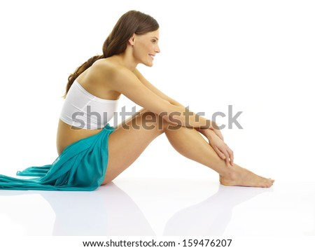 Sexy young slim woman with beautiful perfect body posing on white background.  - stock photo