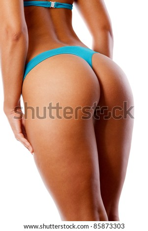 sexy young woman back. Isolated over white - stock photo