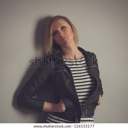 sexy young woman on grey background - stock photo