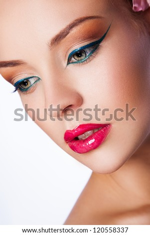 sexy young woman with chubby red lips - stock photo