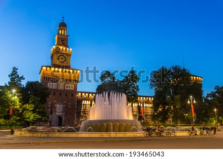 Sforza Castle in Milan in the evening - Italy - stock photo