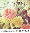 shabby chic flowers - stock photo