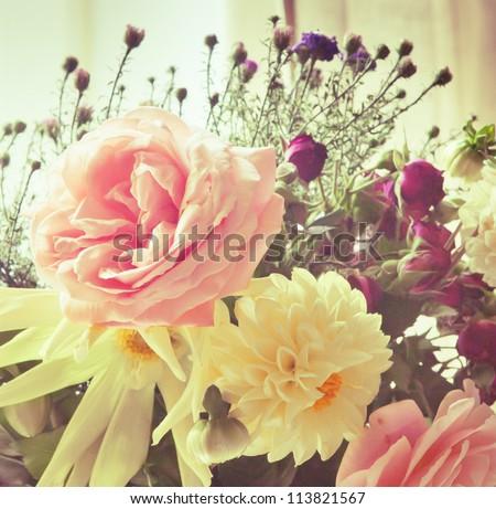 shabby chic flowers - stock photo
